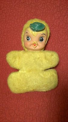"""Vintage 9"""" My Toy 1964? WIND UP MUSICAL RUBBER FACE DUCK CHICK HAT plush stuffed"""