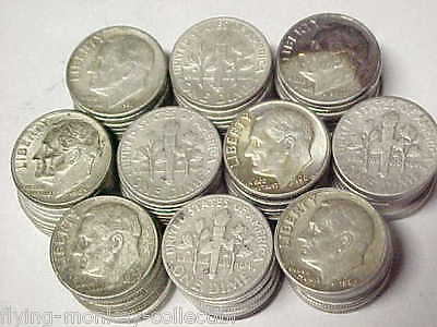 Lot of 100 Roosevelt 90% Silver Dimes - $10 Face Value - 1946-1964 Coins
