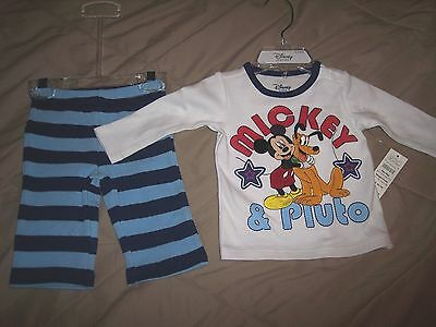 2PC Disney baby boy Mickey Mouse and Pluto set 0-3 M Christmas Holiday gift