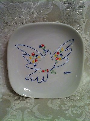 Vintage Picasso Peace Dove Square Plate Dish 4 3/4""