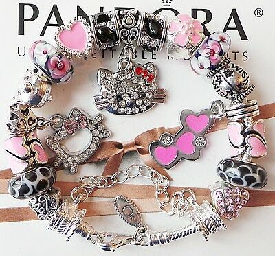 Authentic PANDORA Silver Charm Bracelet Hello Kitty Love Heart Charms Beads Pink