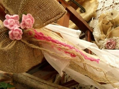 "LARGE 24"" Long Burlap Lace Wedding Bow -Pew chair Shabby Rustic Chic flower PINK"