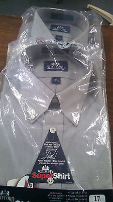 new mens shirts. 2 for 1 price. lt grey. button dn. 16 1/2 34 35