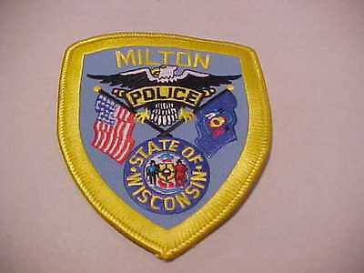 MILTON  WISCONSIN  POLICE PATCH *** FREE SHIP IN USA ***