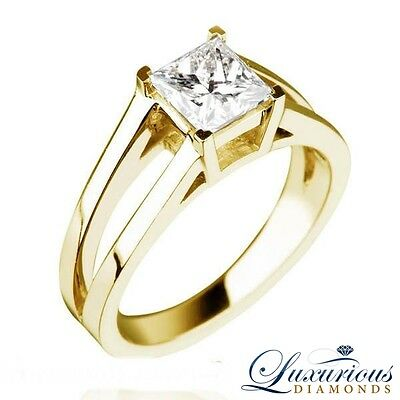 1.50 Carat Engagement Ring Princess Cut F SI Diamond Solitaire For Women