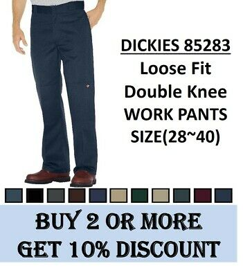 NEW MENS Dickies Loose Fit Double knee Work Pants(#85283) Sizes(28~40), 6 Colors