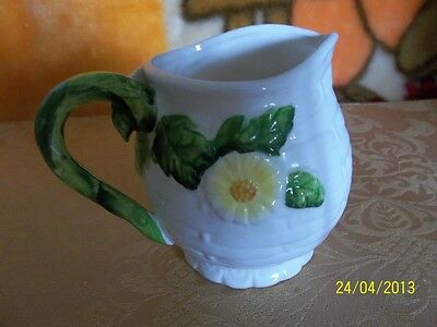 """LOVELY VINTAGE LEFTON """"RUSTIC DAISY"""" CERAMIC CREAMER SMALL PITCHER # 3856 MARKED"""