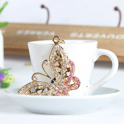Butterfly Fly Lovely Charm Pendent Rhinestone Crystal Purse Bag Key Chain Gift