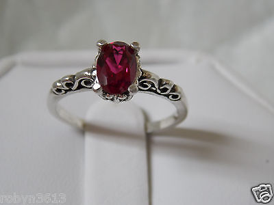 red ruby scroll antique 925 sterling silver ring size 4.5 USA made Vintage style