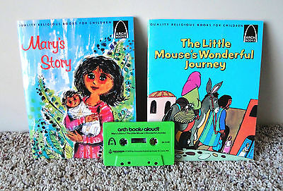 Vintage Arch Religious Children's Bible Story Read Along Books w Cassette Tape