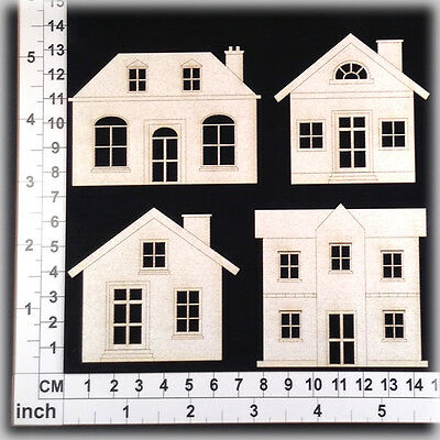 Chipboard Embellishments for Scrapbooking, Cardmaking - Houses 15121w
