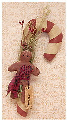 """Pearson's Simply Primitive Gingerbread Sweets Candy Cane 9 1/2"""" Wall Hanger"""