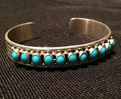 Pure Natural Sleeping Beauty Turquoise Bracelet Bangle Navajo Signed Sterling