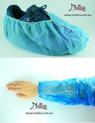 Package of Disposable Non Slip Skid Protect shoe covers + Disposable Arm Sleeve
