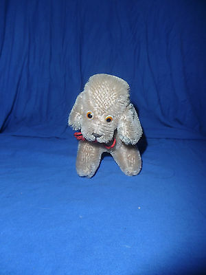 Standing little mohair dog googly eyes nice piece old vintage