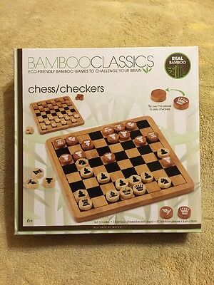 Bamboo Classics Eco-Friendly Chess / Checkers Set Family Board Game. New