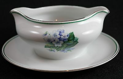 H&C Selb Bavaria Heinrich & Co China Gravy Boat Blue Flowers Silver Rim