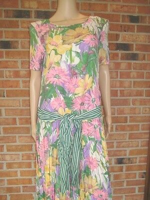 Vtg 50s STYLE Pastel FLORAL Striped SASH Pleated Skirt GARDEN PARTY Dress S M