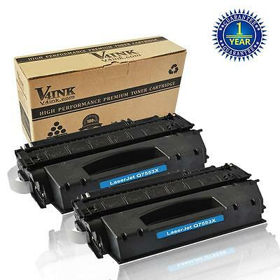 2x V4INK Q7553X Toner Cartridge For HP 53X LaserJet P2014 P2015 P2015DN P2015X