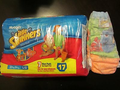 Huggies Little swimmers- size L/G, 32+ lbs/14+ Kg, 17 count- Opened