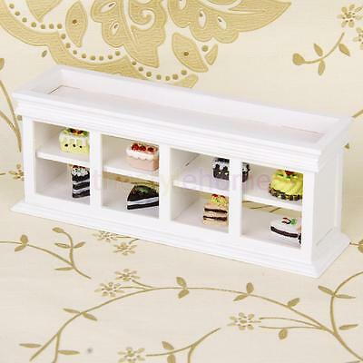 1:12 White Long Wooden Food Cake Display Counter Dollhouse Miniature Cabinet