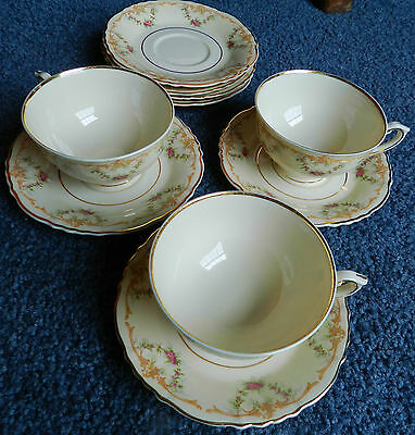 WARDELL (3) CUPS & SAUCERS  Syracuse China Cream Floral Condition Very Good