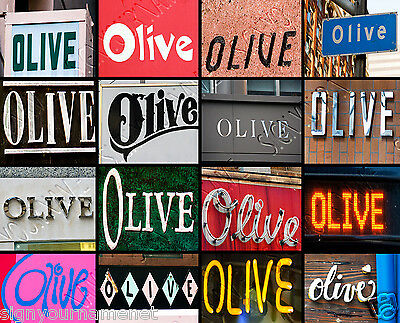 """Personalized Photo Canvas featuring OLIVE in photos of signs- LARGE (20""""x24"""")"""