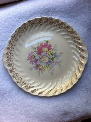 Royal China Inc. Warranted 22k Gold Golden Glory Vintage Flowered Cake Plate