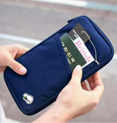 Blue Travel Passport Holders Credit ID Card Cash Wallet Bags Purse Multifunction