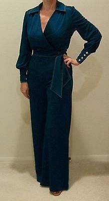 Vintage Nardis of Dallas Teal Green Wrap Top & Palazzo Pants Suit Set Outfit