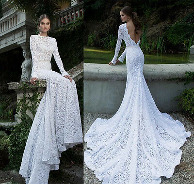 Hot Sale White/Ivory Bridal Gowns Custom Made Long Sleeve Lace Wedding Dresses