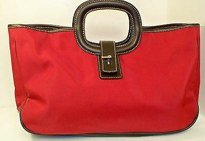 Satchel Hand Bag Tote Bag Red Micro Fiber Dark Faux Leather Brown Trim  Preowned