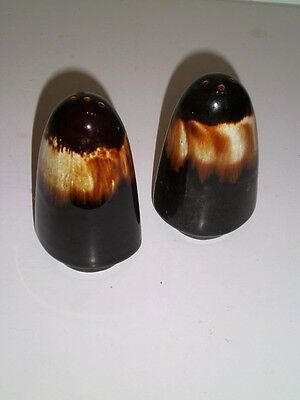 Robinson Ransbottom Pottery USA STONEWARE BROWN DRIP GLAZE SALT PEPPER SHAKERS