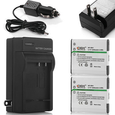 2x NP-BN1 N Type Battery + Charger For Sony Cybershot NPBN1 DSC-WX9 WX7 WX5 W730