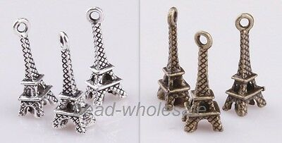 New 30pcs Tibetan Silver Retro Mixed Colour Small Eiffel Tower Charm Pendant