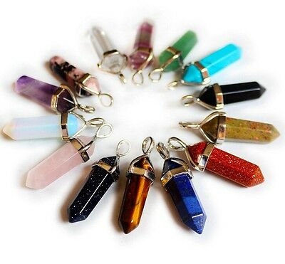New Fashion Mineral Crystal Hexagonal Prism Necklace Pendant Charms Findings 1PC