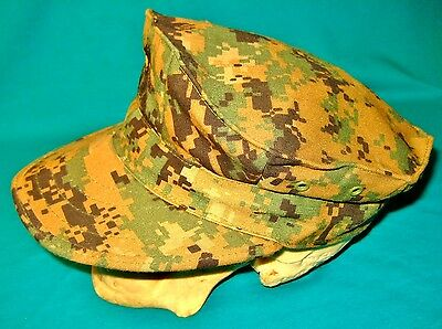 US Military USMC Marine Corps MARPAT Digital Woodland Camo 8 Point Cap Hat Small