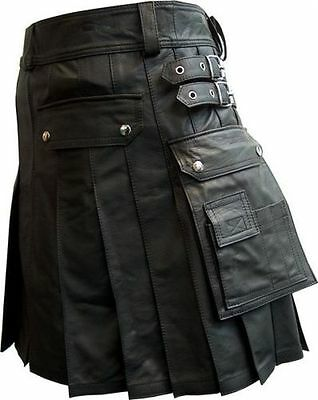"""Mens leather kilt extremely soft supple Cowhide all sizes 23"""" length"""