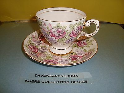 Vintage Royal Tuscan Tea Cup and Saucer Bone China Pastel Roses NM Condition