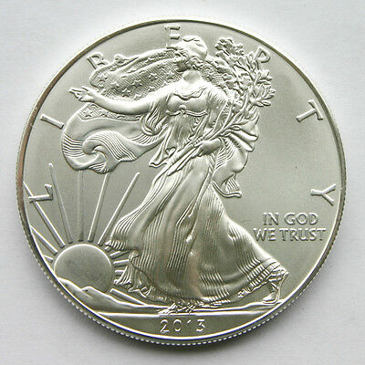 2013 AMERICAN EAGLE 1 oz SILVER ONE DOLLAR COIN - Brilliant Unc. from mint tube