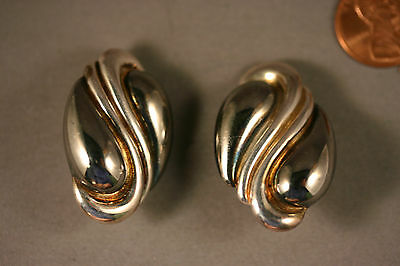 Vtg Frederic Jean Duclos Earrings 925 STERLING Silver On Wax, Clips