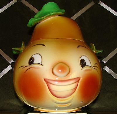 Anthropomorphic Smiling Face Yellow and Green Pear Canister Cookie Jar VHTF