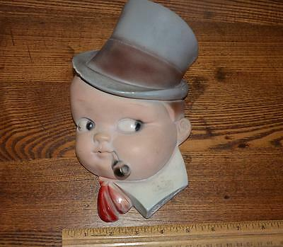 Vintage Chalkware TOP HAT BOY String Holder