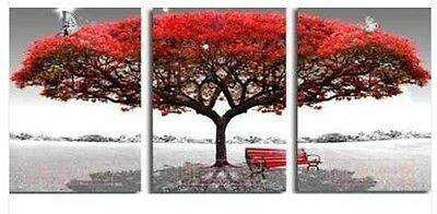 """3pc Modern Abstract Huge Canvas Art Oil Painting """"Red scenery tree""""(no framed)"""