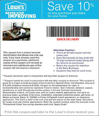 1- One Lowe's 10% Off Coupons - QUICK DELIVERY- -Exp May 7, 2015