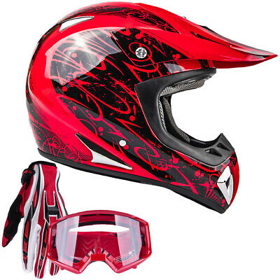Adult DOT Motocross Helmet gloves goggles Red UTV dirt bike MX Off Road ATV