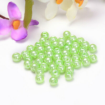 sale 6mm 50pcs Glass Pearl Czech Round Loose Spacer Beads Light green Colour 06
