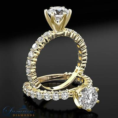 Engagement Ring With Accents 2.75 ct Certified F SI2 Round Cut Diamond Ring