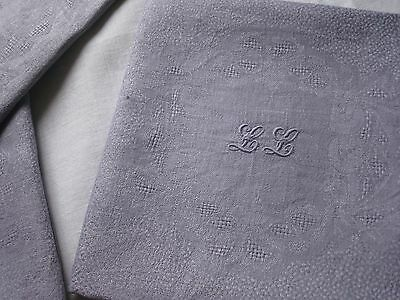 "ANTIQUE FRENCH  NAPKINS-LILAS & LAVENDER-10 DAMASK LINEN NAPKINS - Monogram ""LL"""
