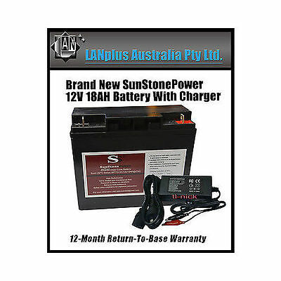 NEW 12V 18AH Sealed Lead-Acid Battery AGM > 17ah 4 UPS with Charger 12v 2A